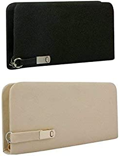 Awesome Fashions Women's clutch/wallet combo black and cream magnet lock