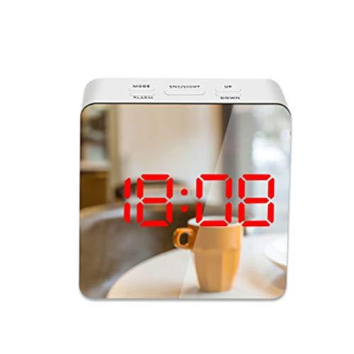 RongWang Reloj Despertador con Espejo LED, Reloj De Mesa con Repetición Digital, Luz De Despertador, Reloj Electrónico De Gran Temperatura, Reloj De Decoración del Hogar (Color : A3)
