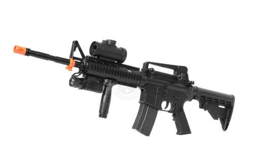 de m4 ris tacspec electric aeg rifle w/ flashlight and red dot scope(Airsoft Gun)