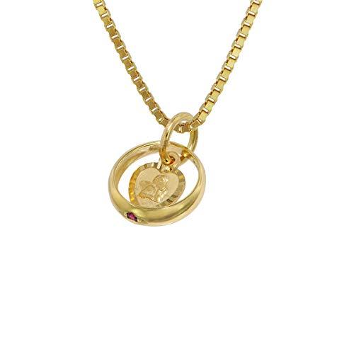 trendor Taufring Rubin Amorherz Gold 585 an goldplattierter Halskette zauberhafter Taufschmuck für Mädchen, Jungen oder Mütter, Geschenkidee zur Taufe, 75119