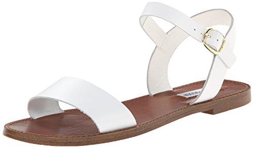 Steve Madden Women's Donddi Sandal, White Leather, 6.5 M US