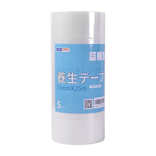 【Amazon 限定ブランド】ADHES 養生テープ 透明 ガムテープ はがせる 台風 窓ガラス用 50mm�I25m 5巻入り (YB16-弱粘着)