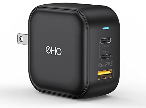 USB C Wall Charger, EHO 65W PD3.0 GaN PPS Type C Fast Charger Foldable Power Adapter 2 USB C + 1 USB Port for Laptops, MacBook, Tablets, for iPhone 13/12 Pro, Galaxy S21/S20 iPad Mini/Air/Pro, Black
