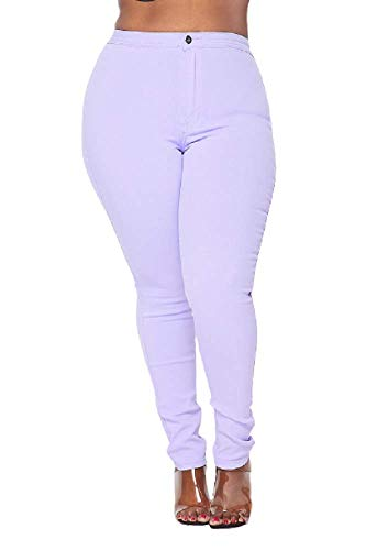 SOHO GLAM Plus Size Super High Waisted Stretchy Skinny Jeans - Lavender