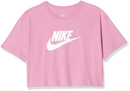 NIKE W NSW tee Essntl CRP ICN FTR Camiseta de Manga Corta, Mujer, Magic Flamingo/(White), L