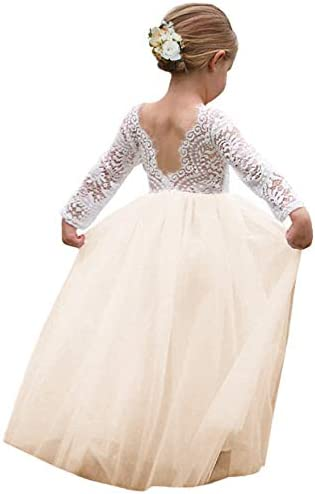 Girl Toddler Full Length Straight Tulle Tutu Lace Back Party Flower Girl Dress 4 5 Year Sleeve product image