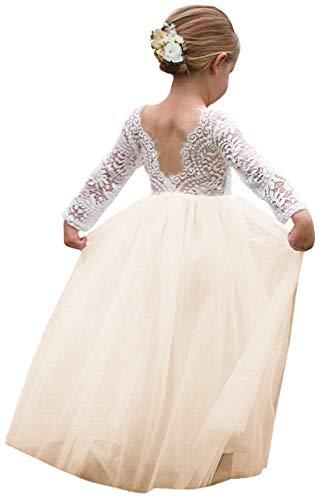 Girl Toddler Full-Length Straight Tulle Tutu Lace Back Party Flower Girl Dress (12-14 Year, Sleeve-Ivory)
