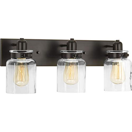 Calhoun Collection Antique Bronze Three-Light Farmhouse Bath Vanity Light