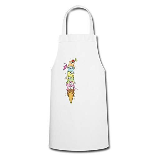 Spreadshirt Sommerlicher Waffel Eis Turm Kochschürze, Weiß