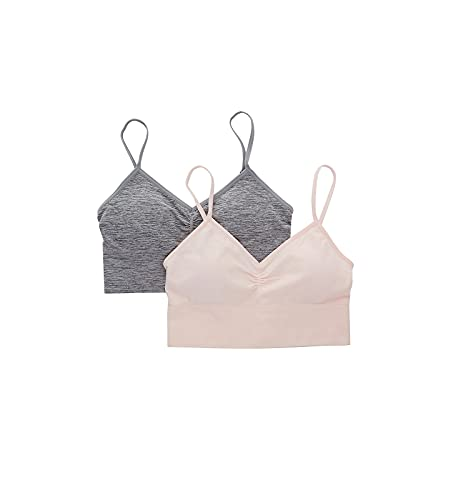 Maidenform Girls' Ruched Longline Bra Bralette, 2 Pack, Pearl/Heather Gray, Large
