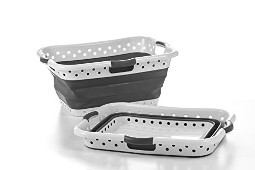 Pop & Load Collapse & Store Collapsible Basket Ultra-Slim Utility POP & LOAD- LAUNDRY, Large HipHolder - 3 Handles, GREY ONYX