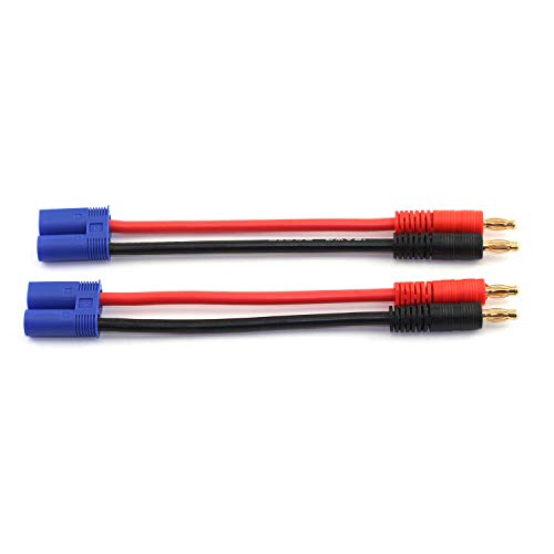RuiLing 2-Pack EC5 Male Plug to 4.0mm Banana Bullet Plug Connector Lipo Battery Balance Charging Wire 15cm 12 AWG Silicone Wire Charger Wire Adapter for RC Quadcopter Vehicle Toys
