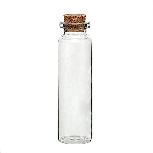 5 pcs, mini - botellas de cristal con corcho, cilíndrico, de 7,9 cm X2, 2 cm