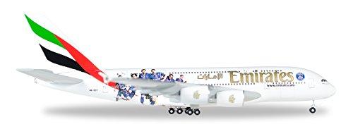 Herpa 529440 - Emirates Airbus A380 Paris Saint Germain in Miniatur zum Basteln Sammeln und als Geschenk