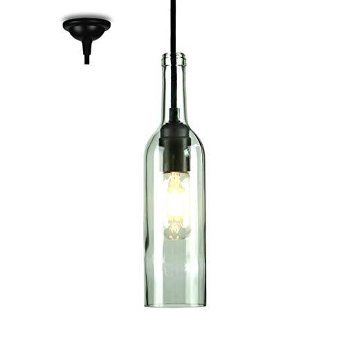 Lamparas de techo Botella de Vino Creativa Colgante de luz, vidrieras de Metal E27, Bar Café Restaurante Tienda de Ropa Techo de araña Juego,lamparas Colgante (Color : 2)
