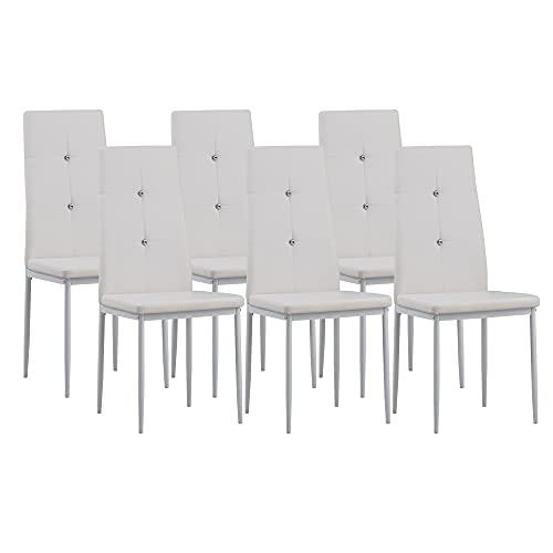 Albatros 3099 Diamond Set di 6 sedie da pranzo, bianco, SGS tested