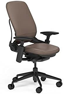 Steelcase Leap Plus Desk Chair Rocky Leather Seat and Back - 500 lb Weight Capacity - Highly Adjustable Arms - Black Frame and Base - Soft Dual Wheel Hard Floor Casters