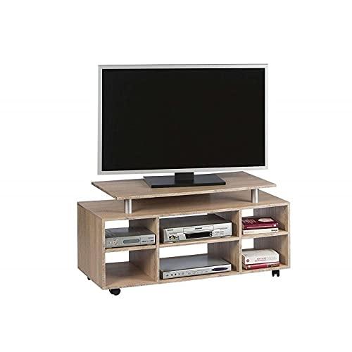 AVANTI TRENDSTORE - Wanda - Mobile TV su rotelle con 6 vani aperti, in quercia Sonoma. Dimensioni LAP 118x57x38 cm