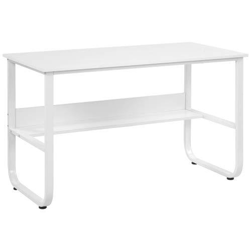 Escritorio, mesa para ordenador con estante, mesa en forma de U para oficina en casa, en color blanco, 120 x 60 x 73 cm
