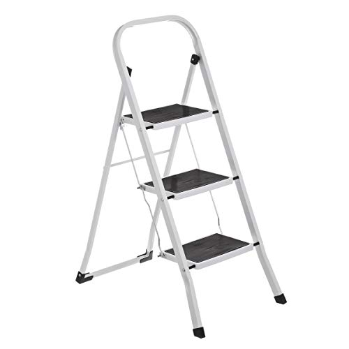Escalera de 3 peldaños Antideslizante Blanca de Acero de 46x71x105 cm - LOLAhome