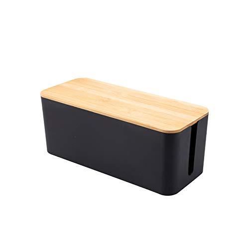 Kabelbox Holz Kabelmanagement-Box Kabelbox Kabelorganisation Kabel für maximale Sicherheit im Haushalt - Kabel Organizer zum Verstauen von Steckdosenleisten, Ladeadaptern, Routern UVM. (Schwarz, S)