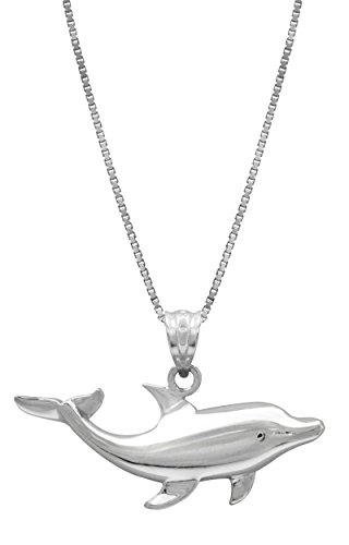 """Sterling Silver Dolphin Necklace Pendant with 18"""" Box Chain"""