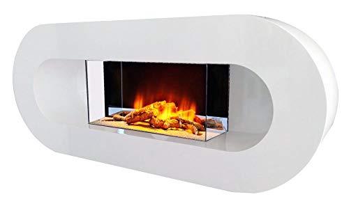 Design Wandkamin Ovalia von Chemin Arte mit Led Feuereffekt und zusätzlicher Led-Beleuchtung 2000W Elektrokamin mit Fernbedienung Wand- oder Bodenmontage Einfach zu installieren da bereits montiert