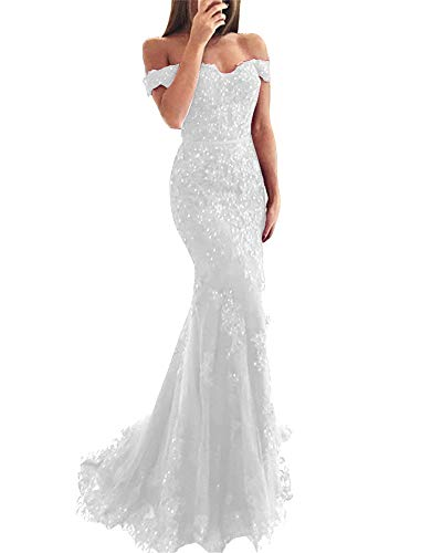 YSMei Women's Off Shoulder Long Lace Mermaid Beaded Prom Gown 18 Plus Ivory-style a