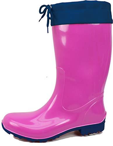 Bockstiegel Damen Gummistiefel Sara Regenstiefel aus Polyvinylchlorid (PVC), Farbe:Fuchsia/dunkelblau, Größe:37 EU