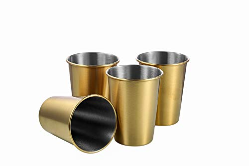 TDGOM 4 pack 12oz stainless steel cups shatterproof pint drinking cups metal drinking glasses for kids and adults picnic cups Golden 350ml/12oz