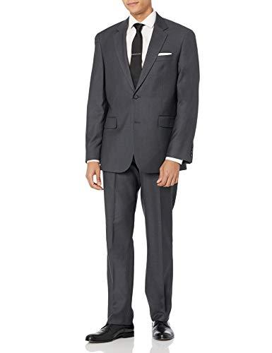 Louis Raphael Men's Modern Fit 2 Button Side Vent Flat Front Sharkskin Suit, Charcoal, 36 Regular