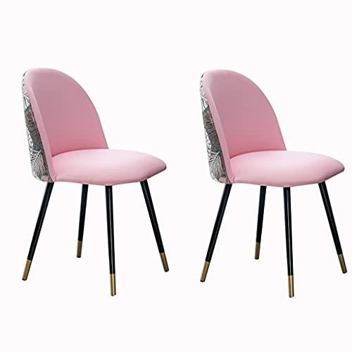 ADGEAAB Moderno Juego de 2 Sillas de Comedor Retro Sillones Modernos Cuero con Respaldo Alto Acolchado Y Asientos Suaves Sillas Sala Estar con Patas Metal (Color : Pink)