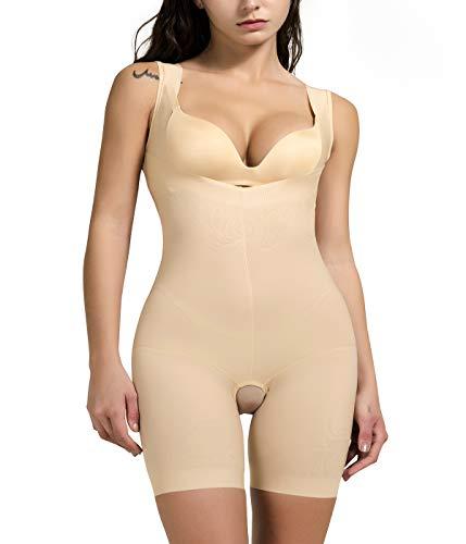 COMFREE Bodies Moldeadores para Mujer Sin Costuras Busto Abierto De LenceríA Moldeadora Body Reductor Postparto Invisible Shapewear Adelgazante Beige 2XL