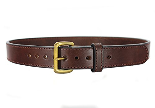 """Bull Hide Leather Belt - Stitched 1.5"""" Wide CCW Concealed Carry Gun Belt 15-16 oz Thickness - Made in USA (Brown, 40)"""