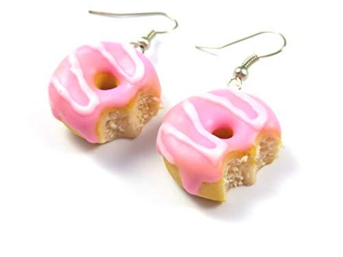 Donut Ohrringe Ohrschmuck angebissen rosa weiss