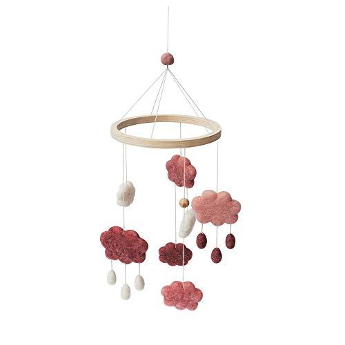 Sebra - Filz-Babymobile - Wolken - Candy pink - Wolle/Holz - H: 57 cm - D: 22 cm