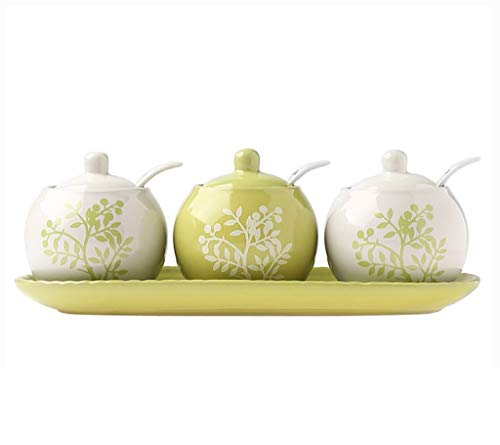 XIAODIANER Pot à épices, Boîte D'assaisonnement en Céramique Créative, Ensemble De 3, Vert/Blanc