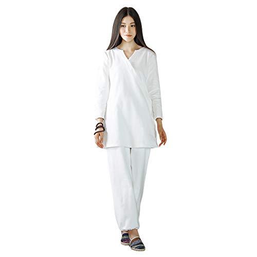 KSUA Frauen Zen Meditation Kleidung Set buddhistischen Outfit chinesische Kung Fu Kleidung Baumwolle Tai Chi Martial Arts Anzug, Weiß EU S/Etikett M