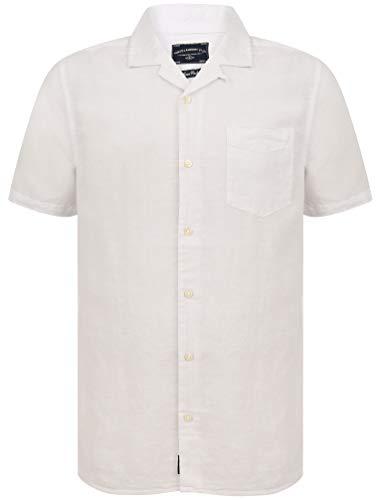 Tokyo Laundry - Camicia da uomo in misto lino a maniche corte Yanni bianco S