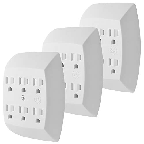 GE 6-Outlet Adapter, 3 Pack, 3-Prong, Grounded, Wall Charging Station, 51532, Standard | White