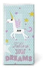 10 Stück Taschentücher 21,5x22 cm Träume Einhorn Kinder Geburtstag Sterne