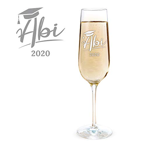 AMAVEL Sektglas mit Gravur zum Abitur 2020, Graviertes Glas für Abiturienten, Füllmenge: 0,2 l