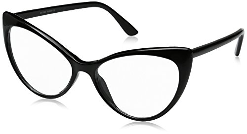zeroUV - Super Cat Eye Glasses Vintage Inspired Mod Fashion Clear Lens Eyewear (Black)