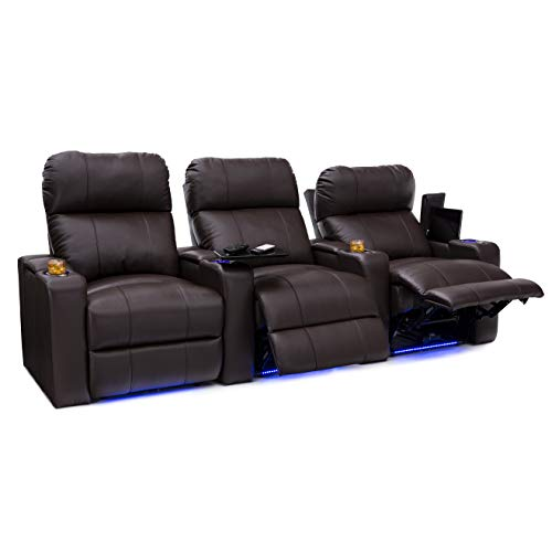 Seatcraft Julius Home Theater Seating Big & Tall 400 lbs Capacity - Top Grain Leather - Power Recline - Powered Headrest - USB Charging - Lighted Cupholders and Base (Row of 3, Black)