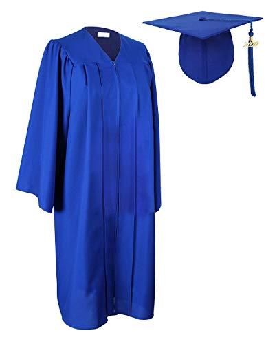 Aricy Unisex Graduation Gown Cap 2020 Tassel Set Matte for High School Bachelor Royal Blue A002EL