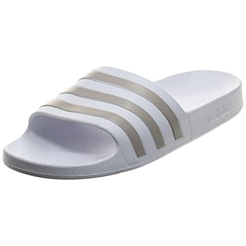 Adidas Adilette Aqua, Ciabatte Donna, Ftwr White Platin Metallic, 39 EU