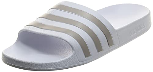 Adidas Adilette Aqua, Ciabatte Donna, Ftwr White Platin Metallic, 42 EU