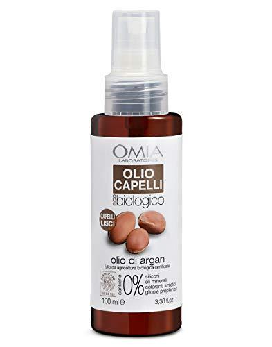Omia Olio per Capelli Eco Bio Con Olio di Argan, Olio Nutriente Ottimale per Capelli Secchi e Crespi, Azione Nutriente e Lisciante con Ingredienti Naturali, Dermatologicamente Testato, 100 ml