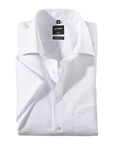 Olymp Luxor Herren Modern Fit Hemd, 0300/12/00, Halbarm, Weiß, 48