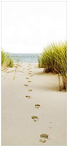 posterdepot ktt0586 Türtapete Türposter Spuren im Sand-Fußspuren durch die Düne zum Meer-Größe 93 x 205 cm